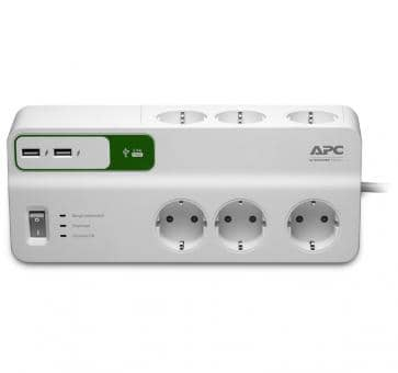APC PM6U-GR Essential SurgeArrest 6 outlet strip USB chargin