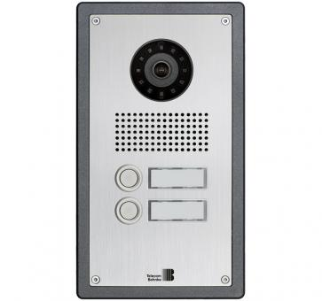 Telecom Behnke series 5 silver 2 buttons IP doorstation stainless steel 5-0014-IP V2A flush mount